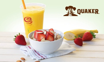 Slow-Cooked, Steel-Cut Oatmeal with Customizable Toppings and Optional Drinks at Jamba Juice (Up to 44% Off)