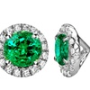 Genuine Emerald and Cubic Zirconia Stud Earrings