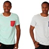 Oxymoron Men's Striped Tee with Contrast Chest Pocket