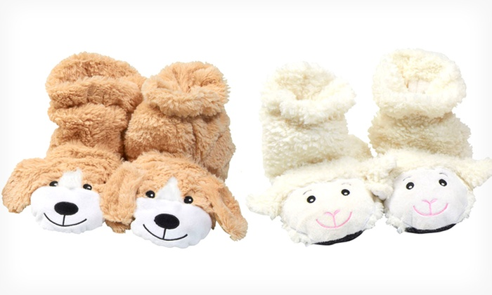 Spa Comforts Cozy Feet Microwavable Animal Slippers: Aromatherapy Cozy Feet Microwavable Animal Lamb or Puppy Slippers