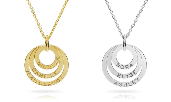 SilvexCraft Design: 1 or 2 Custom Engraved Triple Ring Necklaces