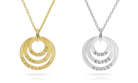 1 or 2 Custom Engraved Triple Ring Necklaces