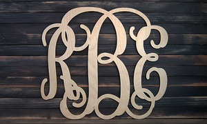 "24"" Or 32"" Natural Or Painted Wooden Monogram Signs From Amonogram Art (50% Off)"