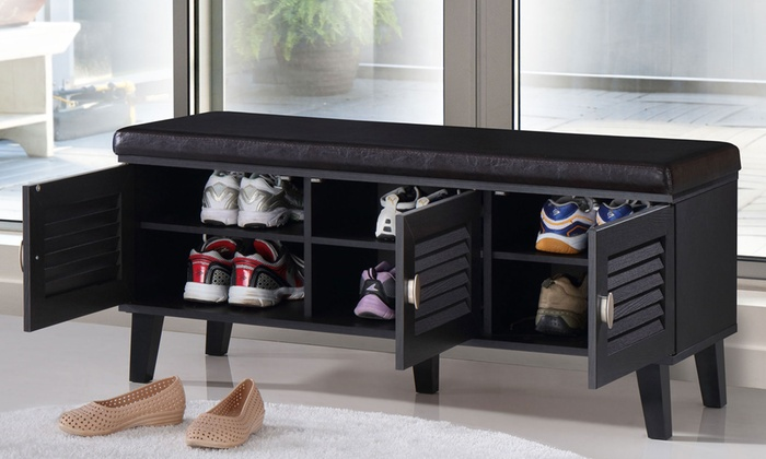 Superieur Sheffield Modern Dark Espresso Shoe Storage Benches ...