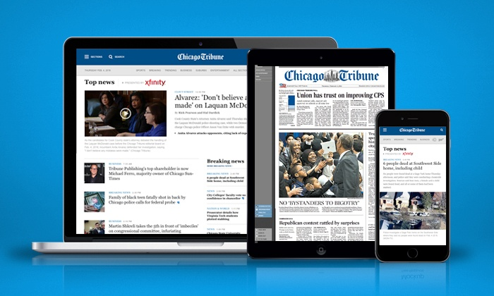 """Chicago Tribune Company, LLC: One-Year or Two-Year Unlimited Digital Access Subscription to the """"Chicago Tribune"""" (62% Off)"""