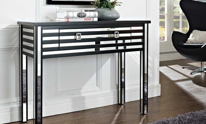 Black and Mirror Sofa Table Groupon Goods