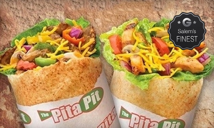 The Pita Pit - Multiple Locations: Pita Meal for Two With Soda or Express Meals for Five with Pita, Chips, and Cookie at The Pita Pit (51% Off)