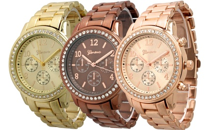 Geneva Women's Crystal Boyfriend Watch