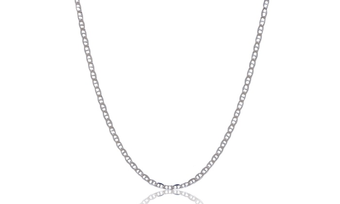 Men's Marina Necklaces: Sterling Silver Italian Men's Marina Necklace. Multiple Lengths Available. Free Returns.