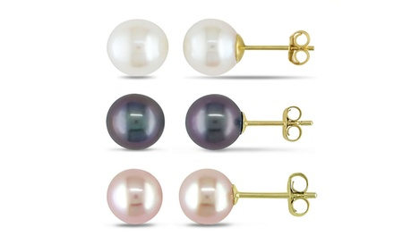 8mm Genuine Freshwater Pearl Studs in 14K Gold (1- or 3-Pack)