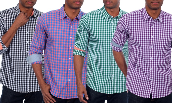 Men 39 s gingham plaid shirts groupon goods for Mens blue gingham shirt