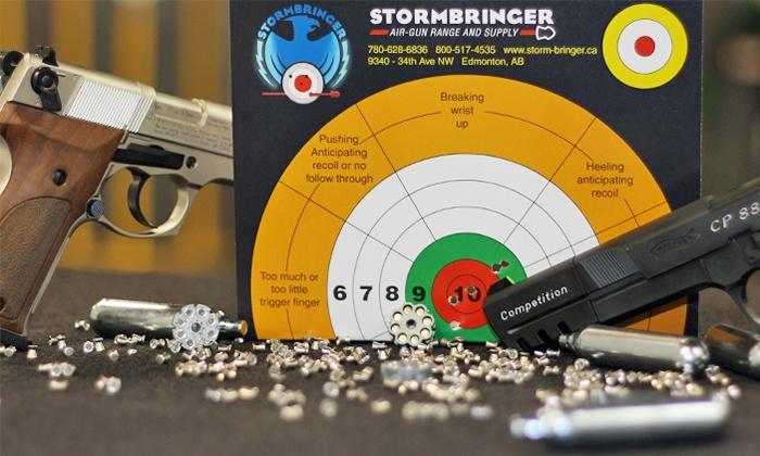 Stormbringer Air-Gun Range and Supply - Strathcona Square : Air-Gun Shooting Outings at Stormbringer Air-Gun Range and Supply (Up to 57% Off). Three Options Available.