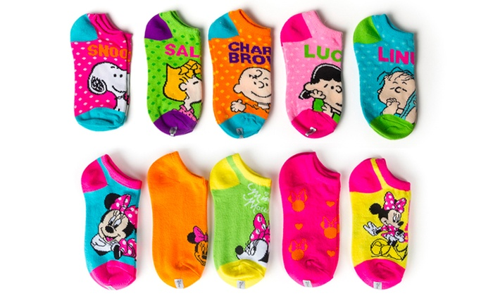 Girls' Minnie Mouse and Snoopy Print Socks (10-Pairs): Girls' - Girls' Minnie And Snoopy Socks Groupon Goods