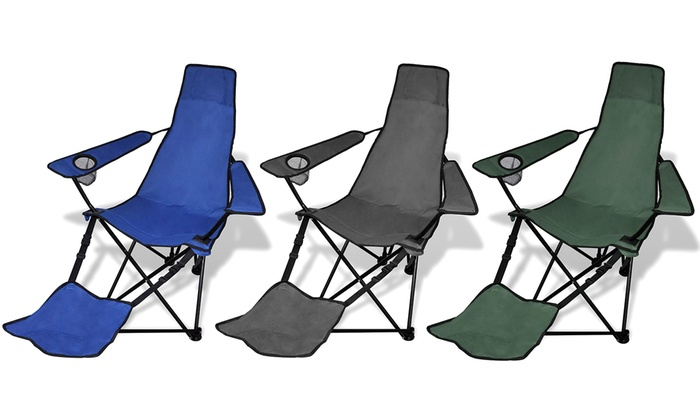 set de 2 chaises pliables de camping avec repose pied - Chaises Pliables