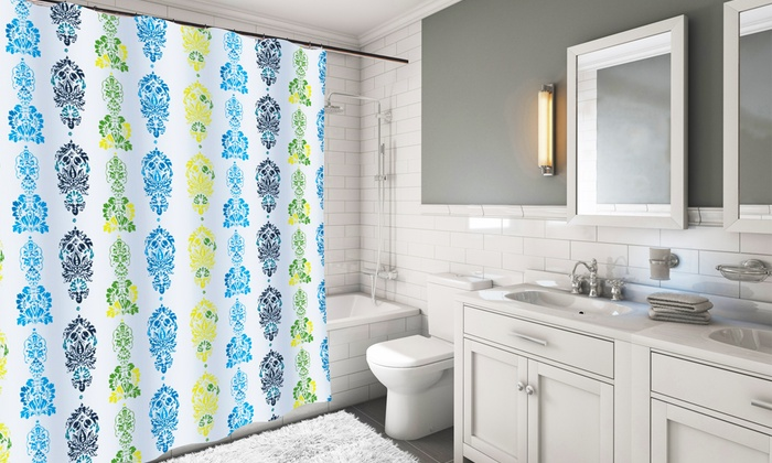 Fabric shower curtains extra long 82 quot x70 quot print fabric shower curtain