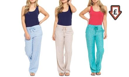 Women's Two-Tone Linen Trousers