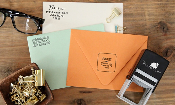 The Plaid Barn: Rectangular or Square Self-Inking Stamps from The Plaid Barn (Up to 65% Off)