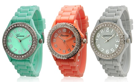 Geneva Women's Crystal-Embellished Silicone Watch