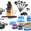 Nonstick Carbon Steel Starter Cookware and Utensil Set (72-Piece)