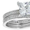 Sterling Silver Princess Cut Solitaire Ring with Cubic Zirconia