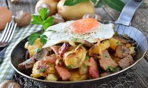 Sabor Taurino: Menú para dos o cuatro con ensalada, sartén de huevos estrellados, tabla, postre y botella de lambrusco desde 19,90 €
