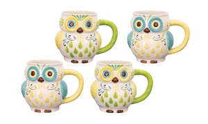 Set Of 4 Hand-painted Floral Owl Mugs