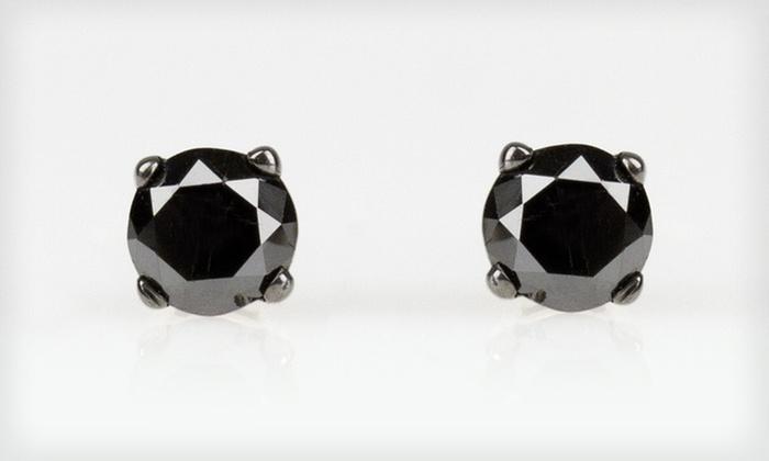 Black-Diamond Stud Earrings: $39.99 for One Pair of Sterling-Silver 1/2-Carat Total Diamond Weight Black-Diamond Stud Earrings ($175 List Price)