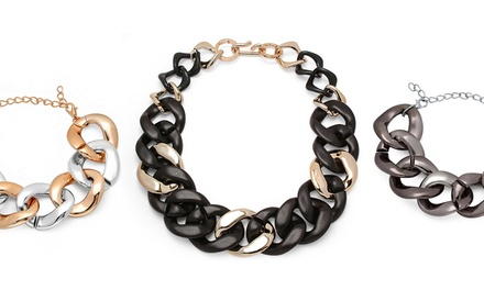 Chic Style Two-Tone Thick Chain Bracelet or Necklace