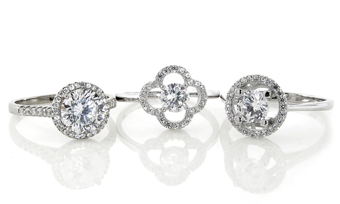 Sterling Silver Cubic Zirconia Halo Rings: Sterling Silver Cubic Zirconia Halo Rings. Multiple Styles Available.