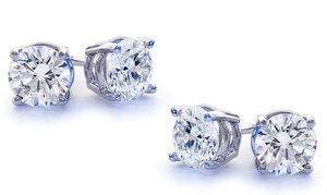 2.00 Cttw Genuine White Topaz Stud Earrings By Gemmaluna (1 Or 2 Pairs)