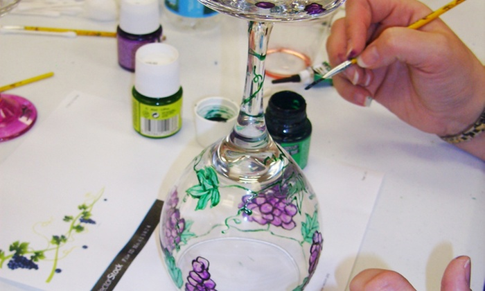 Art Classes by Jen and Mark - Culbreath Heights: Wineglass-Painting Class for One or Two at Art Classes by Jen and Mark (Up to 52% Off)