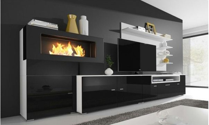 parete soggiorno con biocamino groupon goods. Black Bedroom Furniture Sets. Home Design Ideas