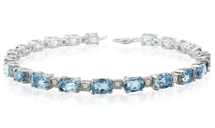 10.00 CTTW Aquamarine and Diamond Bracelet in Sterling Silver
