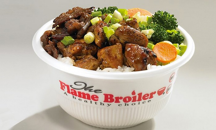 The Flame Broiler - Pacific Beach: $12 for Two Groupons, Each Good for $10 Worth of Rice Bowls at The Flame Broiler ($20 Total Value)
