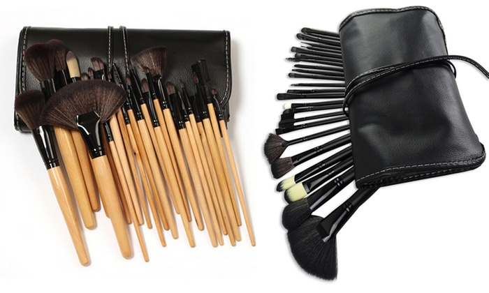 Bliss and Grace Makeup Brush Set with Vegan Leather Travel Bag (24-Piece)