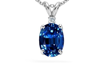 2.50 CTTW Genuine Gemstone and Diamond Pendant - Multiple Options Available