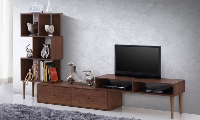 Winchester Mid-Century Modern Walnut Wood TV Stand and Display ...