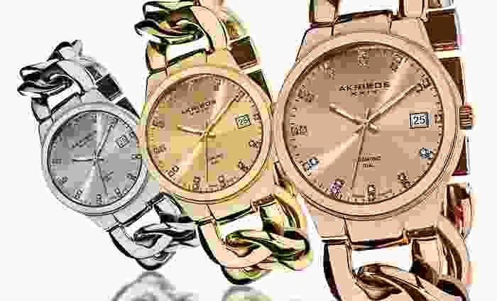 Akribos XXIV Diamond Twist-Chain Watch: Akribos XXIV Women's Diamond Twist-Chain Bracelet Watch in Gold, Rose, or Silver Tone