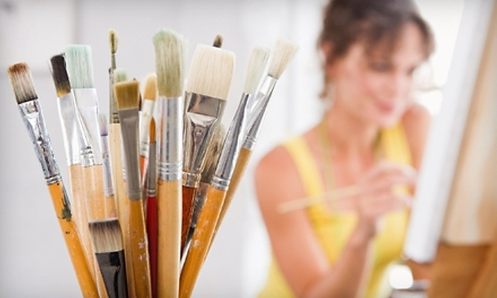 Raise Your Brush - Centerville: Wine and Painting Class for One or Two at Raise Your Brush (51% Off)
