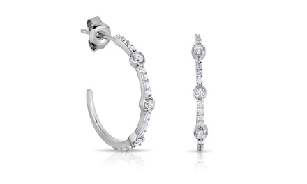 3/8 CTTW Diamond Hoop Earrings in Sterling Silver