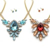 Glass Stone Cluster Necklaces with Matching Stud Earrings
