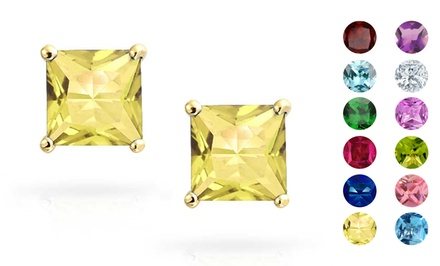 Princess-Cut 2.00 CTTW Birthstone Stud Earrings with Swarovski Elements in 14K Solid Gold