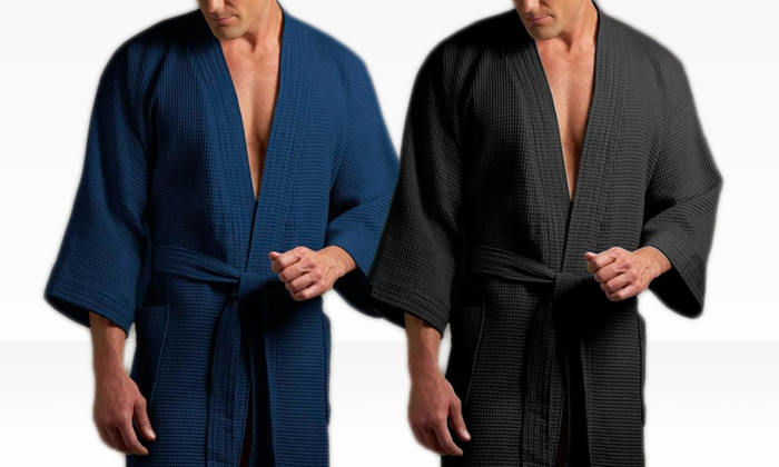 Joseph Abboud Men's Waffle Robes: Joseph Abboud Men's Waffle Robe in Black or Navy. Free Shipping and Returns.