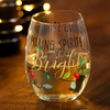 Stemless Holiday-Themed Wine Glass with Gift Box