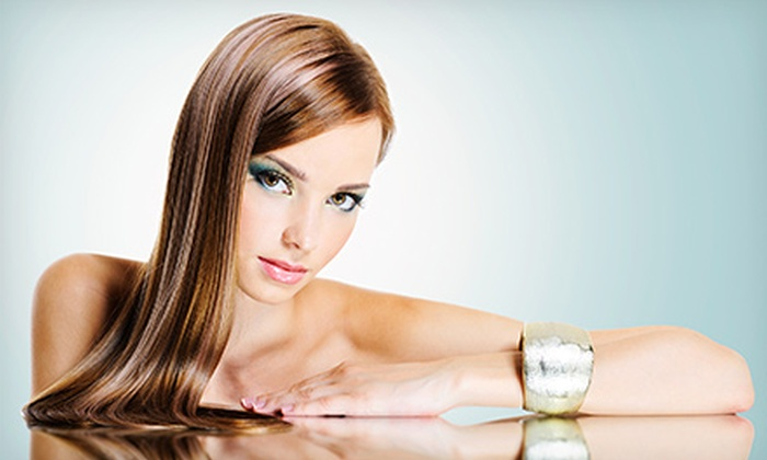 Hair Stop - Coral Gables Section: Haircut Package with Optional Partial Highlights, or Hair Beautox Smoothing Treatment at Hair Stop (Up to 59% Off)