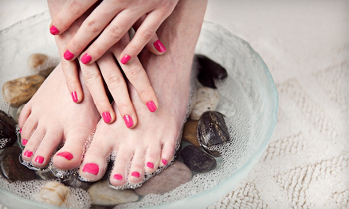 Time For Me Nails at Elizabeth & Co Hair Studio - Clayton: $24 for a Shellac Manicure or Spa Pedicure at Time for Me Nails at Elizabeth & Co Hair Studio (Up to $49 Value)