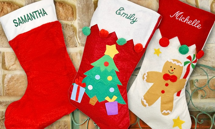 Monogram Online: One or Two Personalized Christmas Stockings from Monogram Online (Up to 60% Off)
