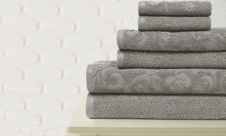 Set of 6 100% Egyptian Cotton Vintage Floral Towels with Jacquard and Solid Bath, Hand, and Wash Towels