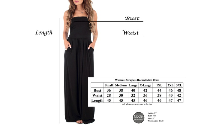 Up To 67% Off on Strapless Ruched Maxi with Plus | Groupon Goods