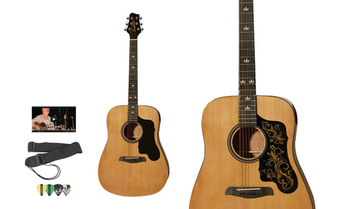 Sawtooth Acoustic Guitar Starter Set: Sawtooth Acoustic Guitar Set with Black or Etched Pickguard, Strap, Online Lessons, and Pick Sampler Pack. Free Returns.